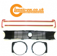 Mk1 Golf Single Lamp Grille Set With Red GTI Trim